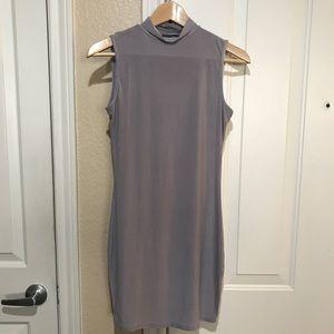Light grey high neck mini dress